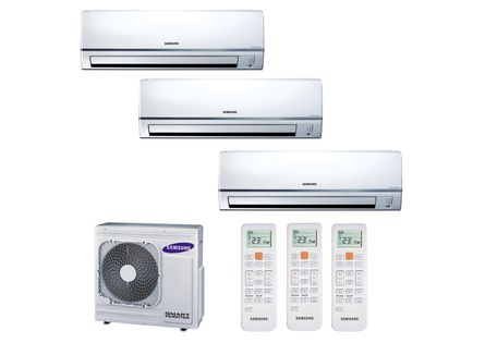 Ar Condicionado Multi Split Inverter Hi Wall Samsung 2x9000 e 1x18000 BTUs Quente e Frio 220v Monofásico