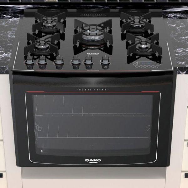 Fogao-de-Embutir-Dako-5-Bocas-Turbo-Glass-com-Mesa-de-Vidro-e-Display-Digital-Preto-–-Bivolt