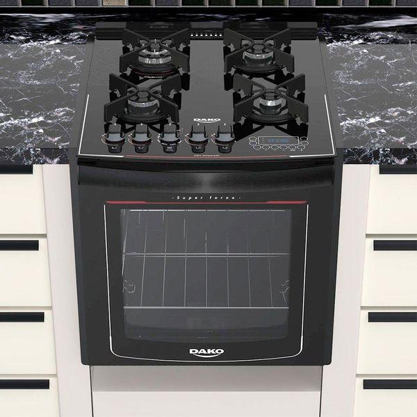 Fogao-de-Embutir-Dako-4-Bocas-Turbo-Glass-com-Mesa-de-Vidro-e-Display-Digital-Preto-–-Bivolt