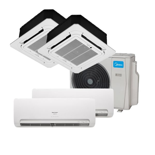 Ar-Condicionado-Multi-Split-Inverter-Springer-Midea-2x9.000-e-Cassete-4-Vias-1x12.000-e-1x18.000-BTU-h-Quente-e-Frio-Monofasico-38MBMA36M5---220-Volts