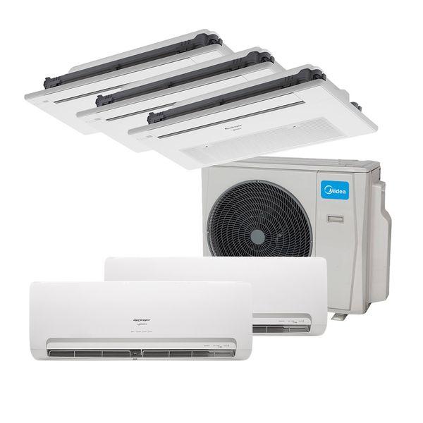Ar-Condicionado-Multi-Split-Inverter-Springer-Midea-2x9.000-e-Cassete-1-Via-2x9.000-e-1x12.000-BTU-h-Quente-e-Frio-Monofasico-38MBPA42M5---220-Volts