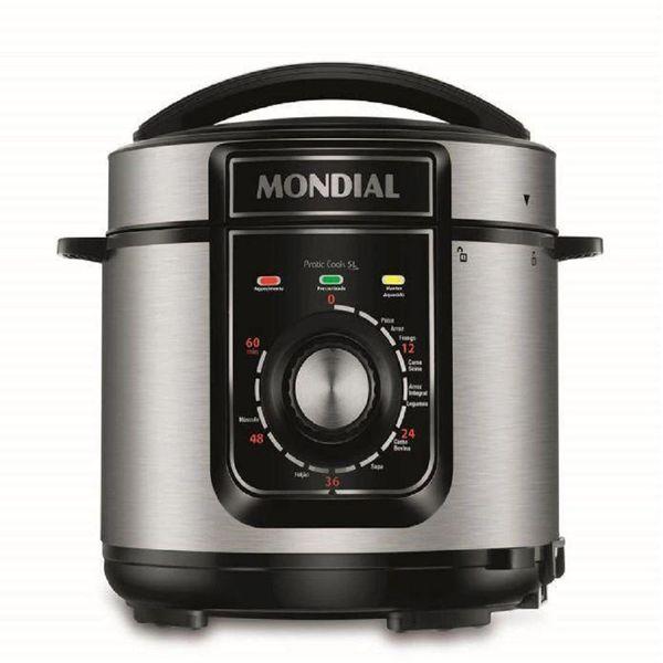 Panela-de-Pressao-Eletrica-Mondial-5-Litros-Pratic-Cook-Preto-Inox-PE-48---127-Volts